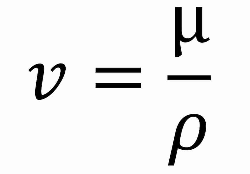 imagen de la formula de la viscosidad cinematica de un fluido